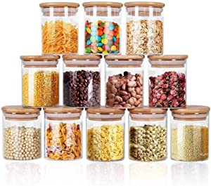 Glass Jars Set 8.5oz, Yibaodan 12 Set Spice Jars with Bamboo Airtight Lids and Labels, Food Cereal Storage Containers for Home Kitchen Tea Herbs Pasta Coffee Flour Herbs Grains