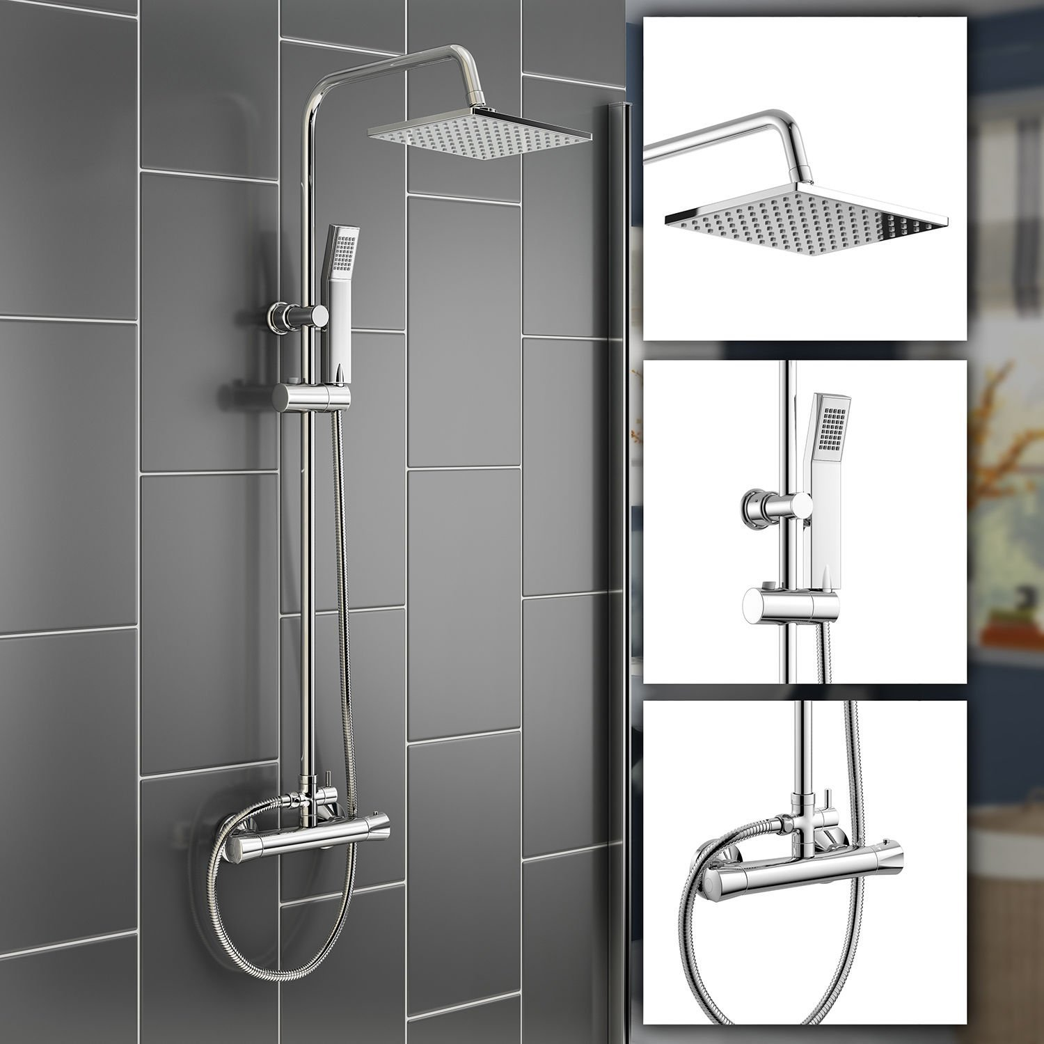 iBathUK | Square Thermostatic Bar Mixer Shower Set Chrome Valve 8 ...