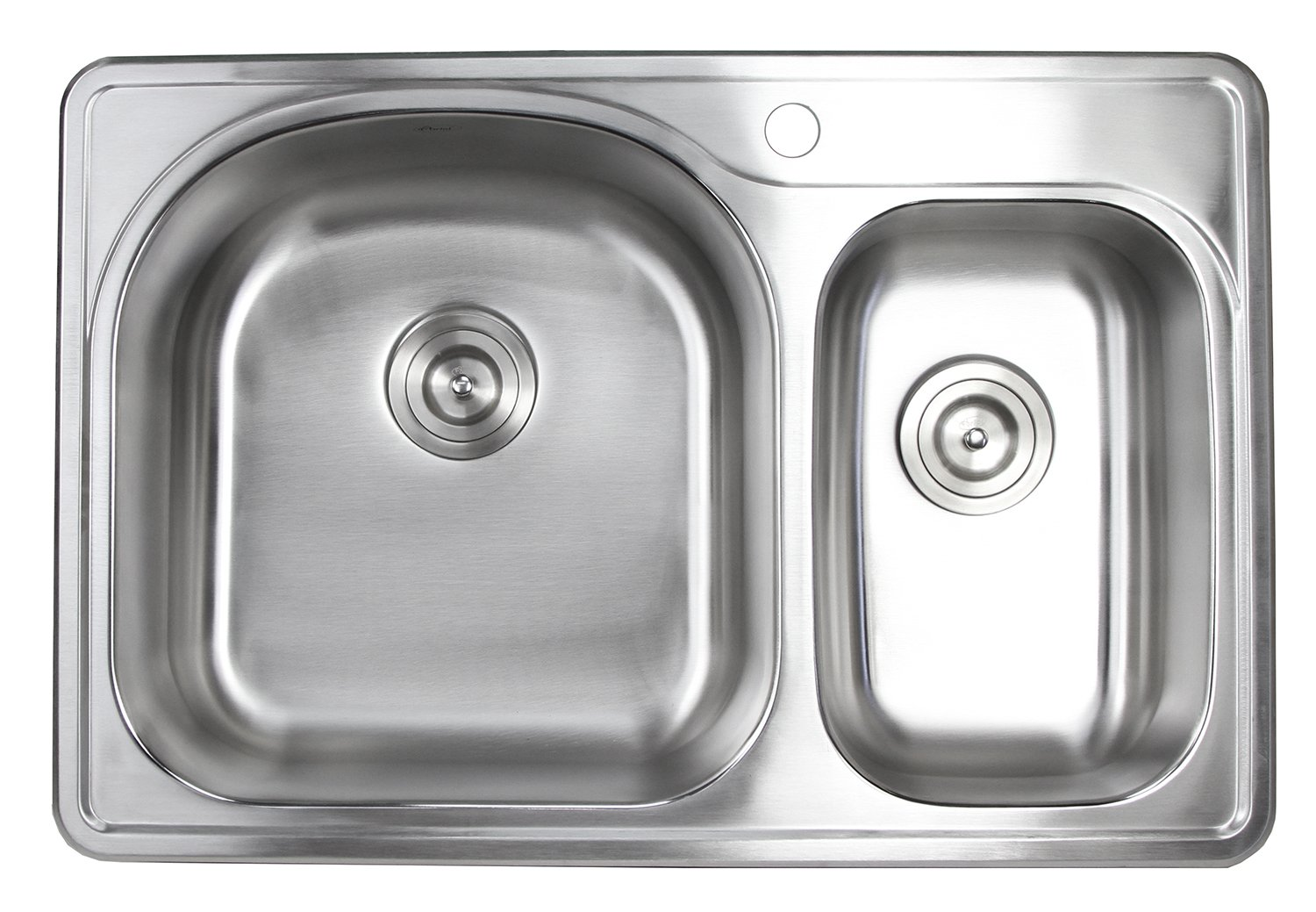 33 Inch Top-mount/Drop-in Stainless Steel 70/30 Double Bowl Kitchen Sink- 18 Gauge (1 Faucet Hole)