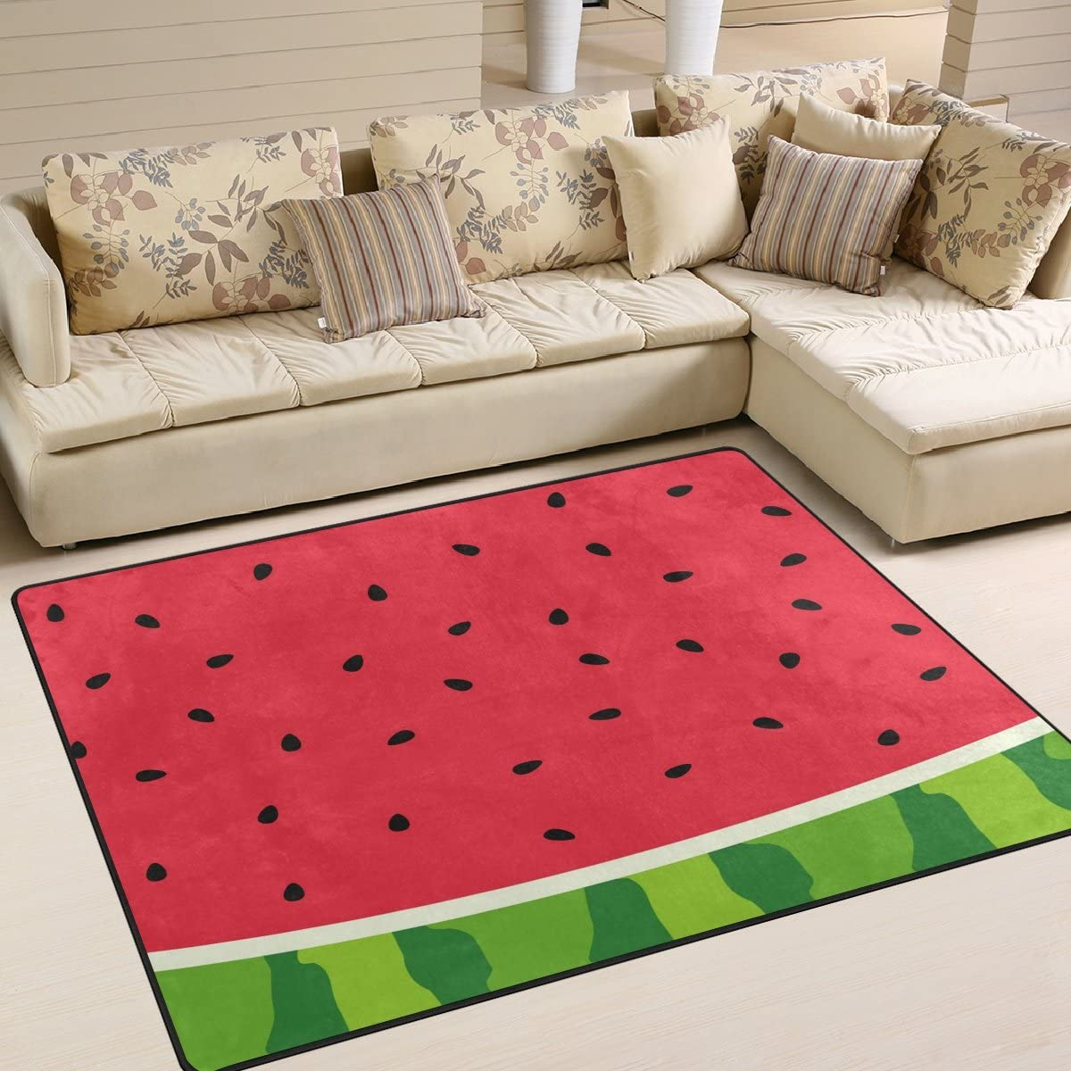 ALAZA Watermelon Fruit Red Summer Area Rug Rug