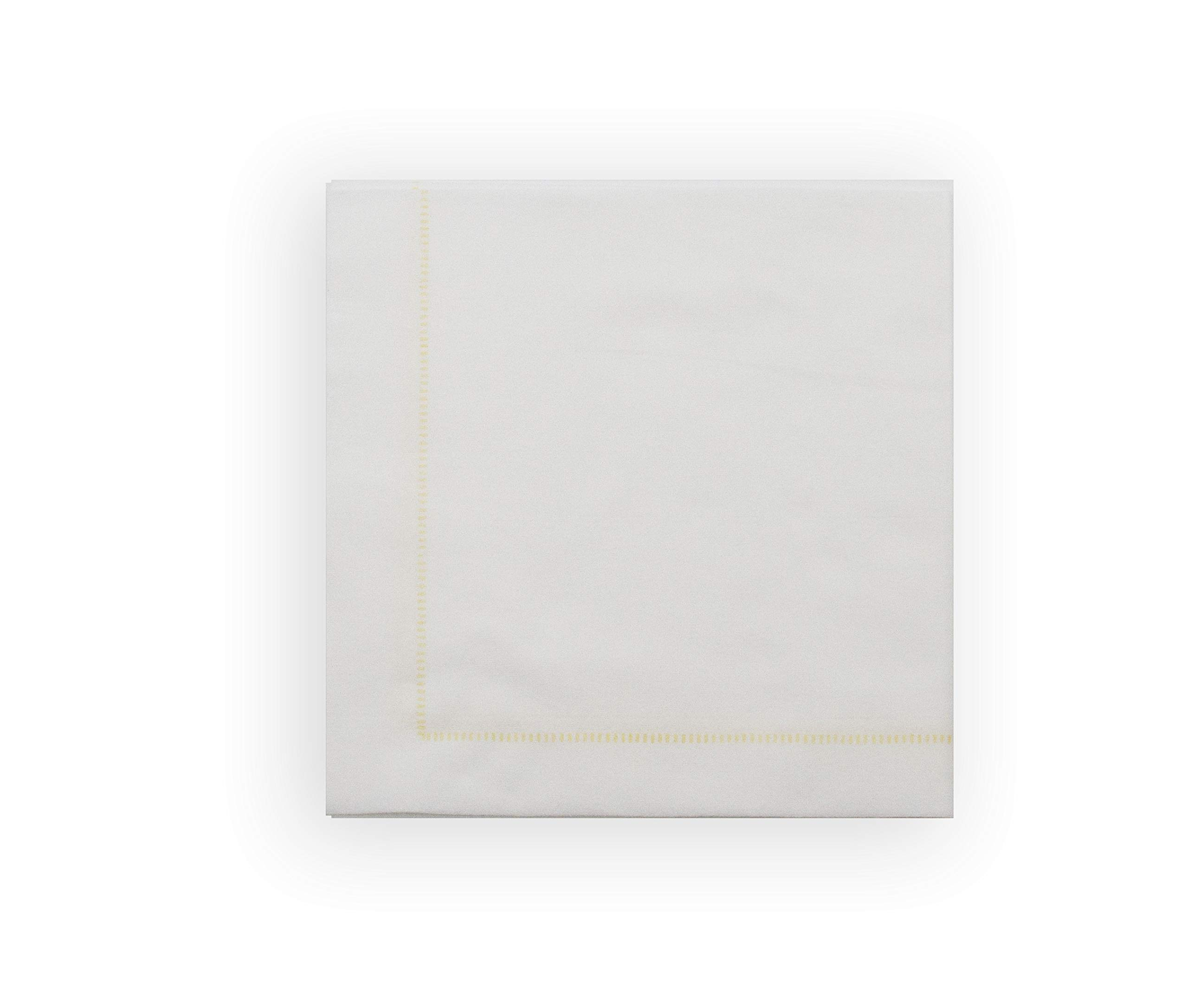 The Napkins Single use Cloth Feel like Napkin Dinner Hemstitch Gold Deluxe Pack of 50