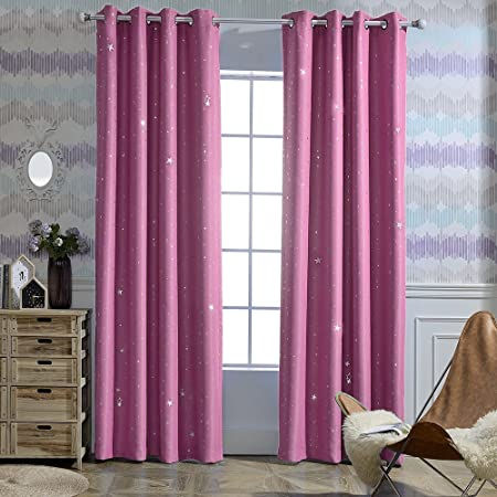 Frideko Star Curtains 2 Packs Modern Thermal Insulated Blackout Night Sky Panels With Eyelets