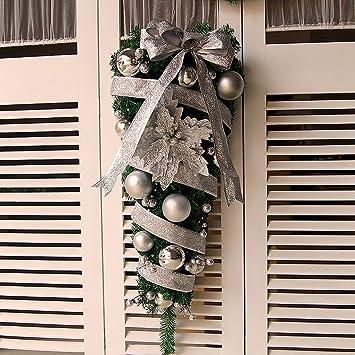 Adornos de Navidad guirnaldas de puerta Adornos de Navidad (Color : La Plata , Tamaño : 90cm) : Amazon.es: Hogar