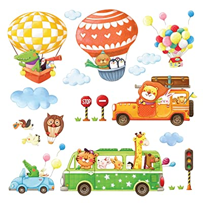 DECOWALL DA-18062P14063 Animal Transports and Hot Air Balloons Kids Wall Stickers Wall Decals Peel and Stick Removable Wall Stickers for Kids Nursery Bedroom Living Room: Home & Kitchen [5Bkhe0503384]