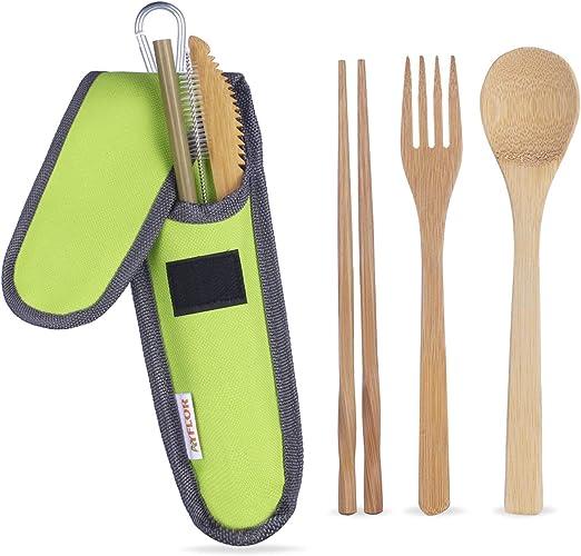 Amazon.com: AYFLOR Juego de cubiertos de bambú para viajes ...