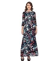 Purys Floral Navy Digital Blue Maxi Dress