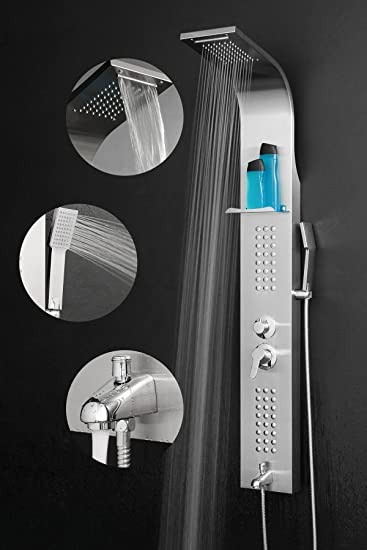 Firebird 59u0026quot; Rainfall Waterfall Stainless Steel Bathroom Shower Panel  System W/ SPA Handheld Wand