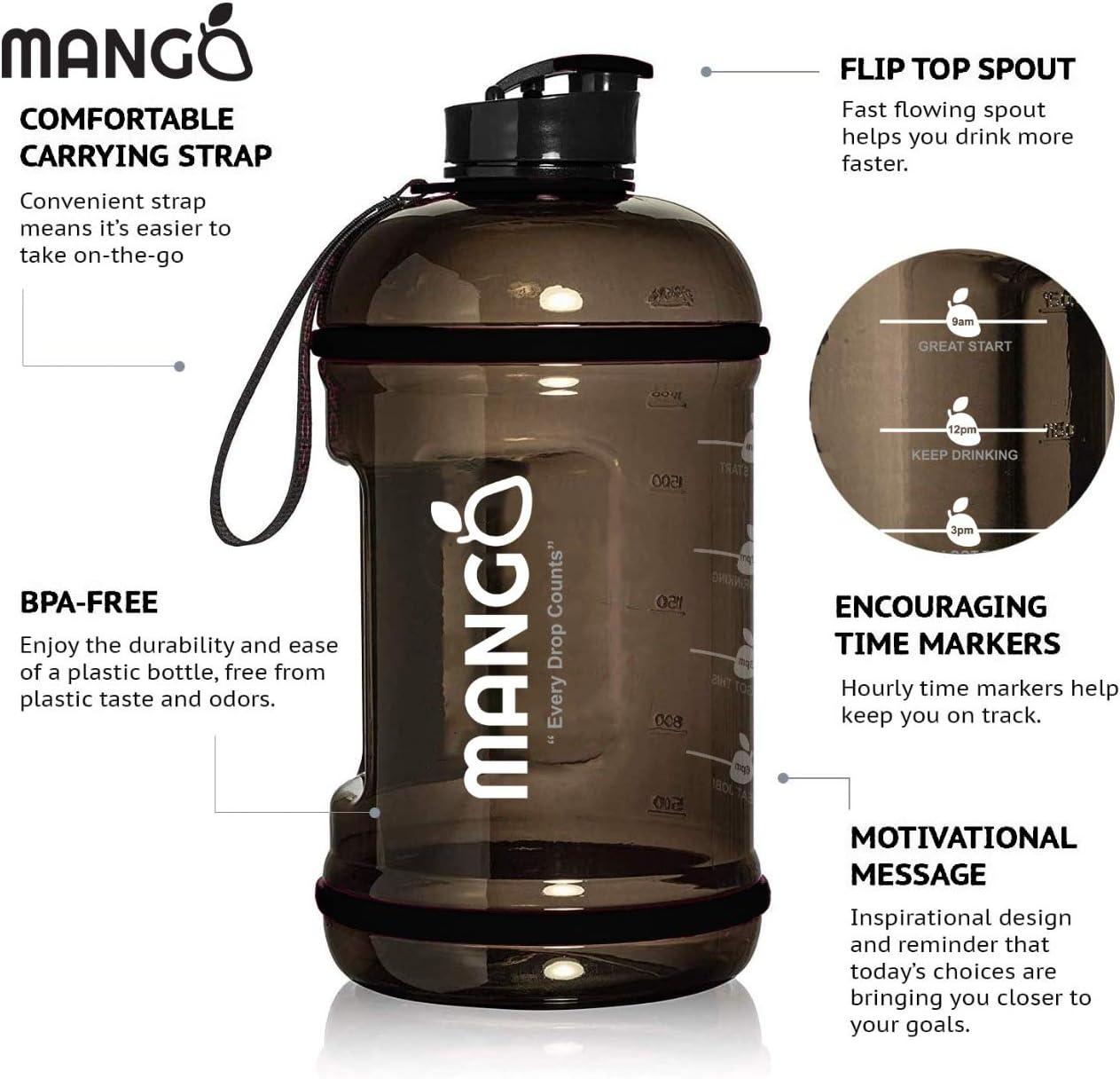 hombres y mujeres Mango botella de agua de 2,2 litros con marcas de tiempo motivacionales ideal para gimnasio al aire libre botellas deportivas duraderas con tapa abatible sin BPA