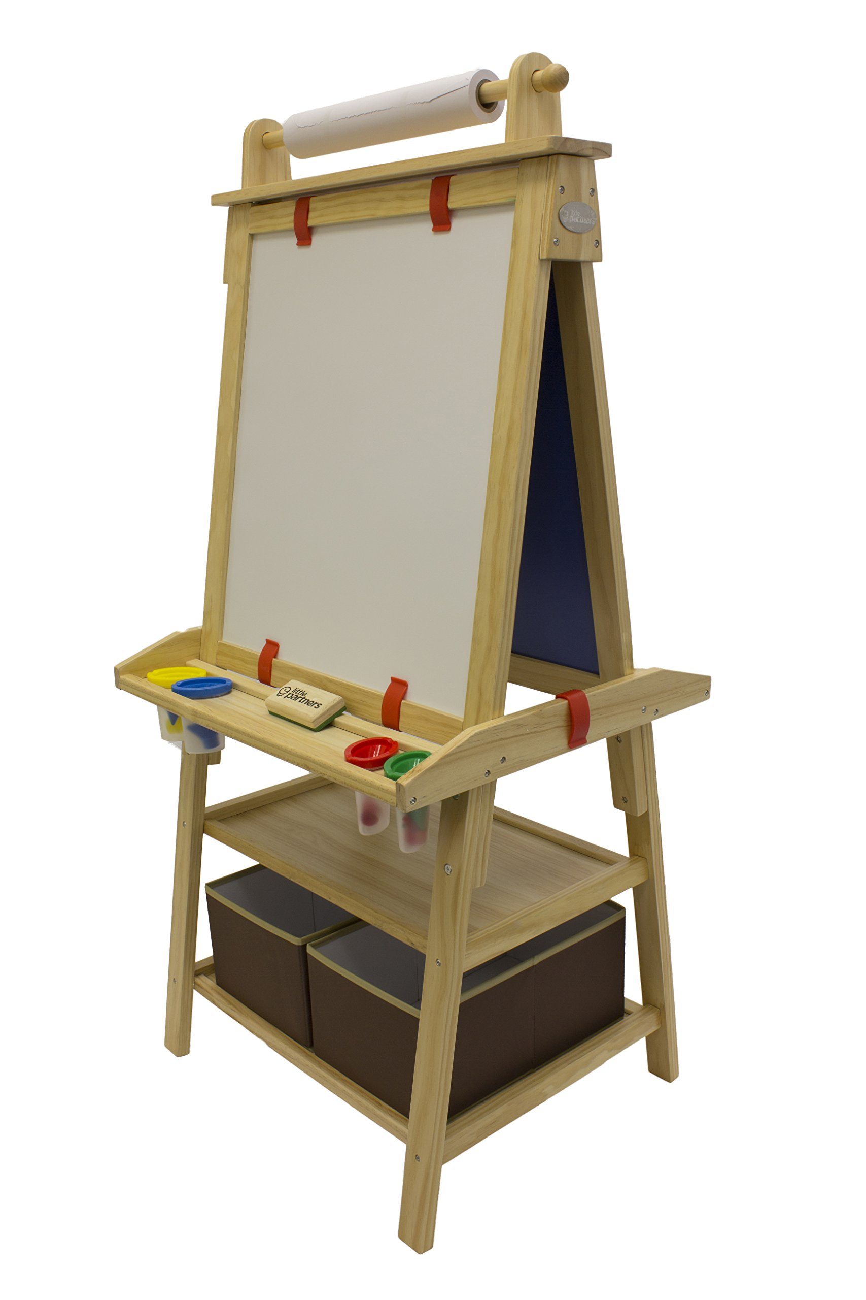 Little Partners 2-Sided A-Frame Art Easel with Chalk Board, Magnetic Dry Erase, Storage, Paper Feed and Accessories for Toddlers, Natural