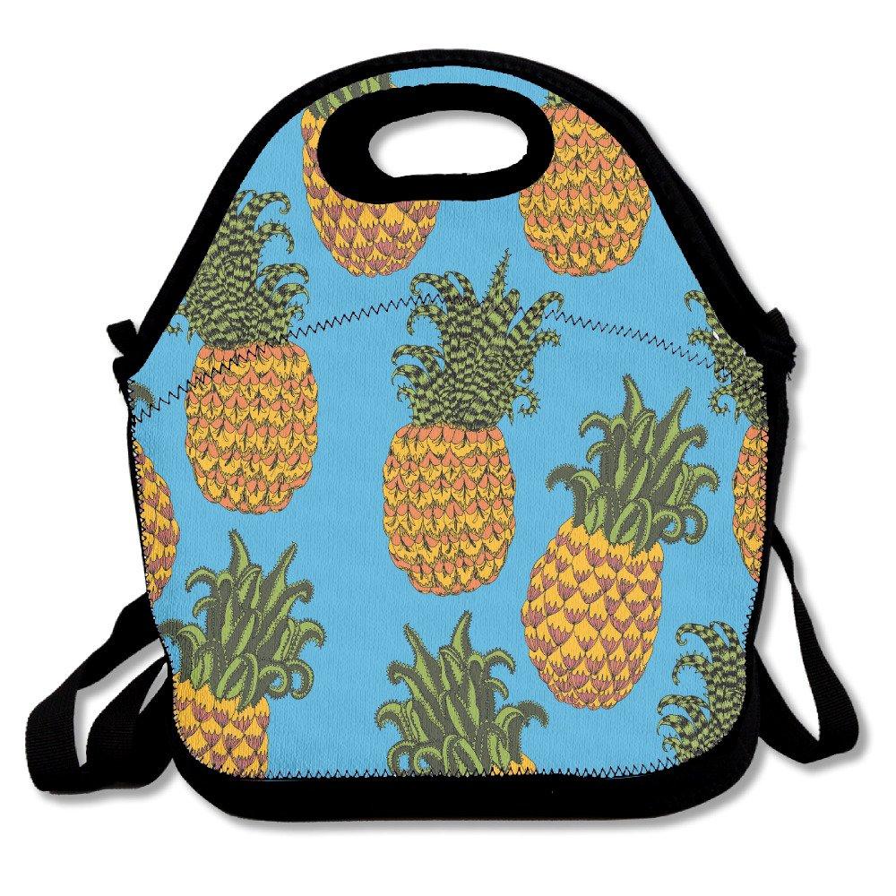 YWG piña Falling azul Ziplock bolsa de almuerzo Tote portátil bolso caja de almuerzo Impermeable Aislado Alimentos contenedor para niños y niñas escuela Picnic oficina de viaje al aire libre