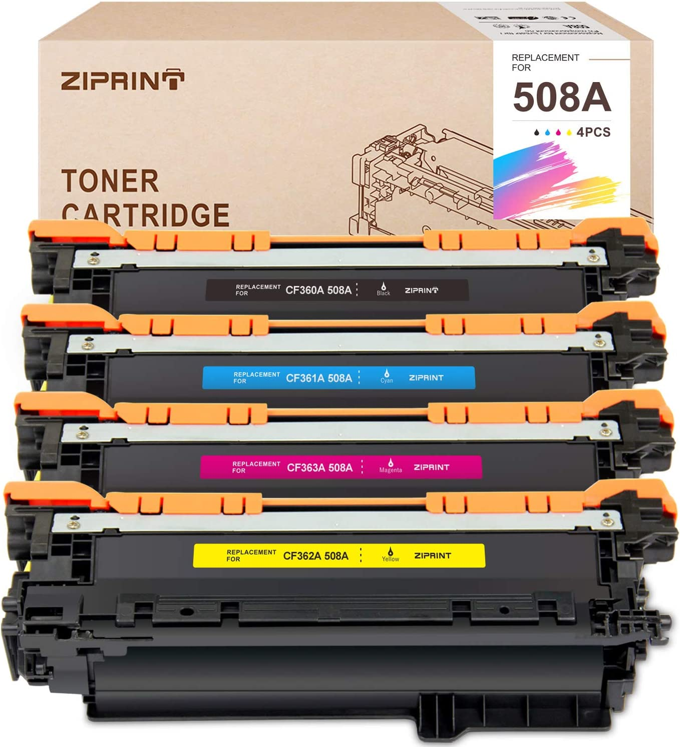 ZIPRINT Compatible Toner Cartridge Replacement for HP 508A 508 CF360A use for Color Laserjet Enterprise M552dn M553 M553n M553dn M553x M577f M577dn M577z (Black Cyan Yellow Magenta, 4-Pack)