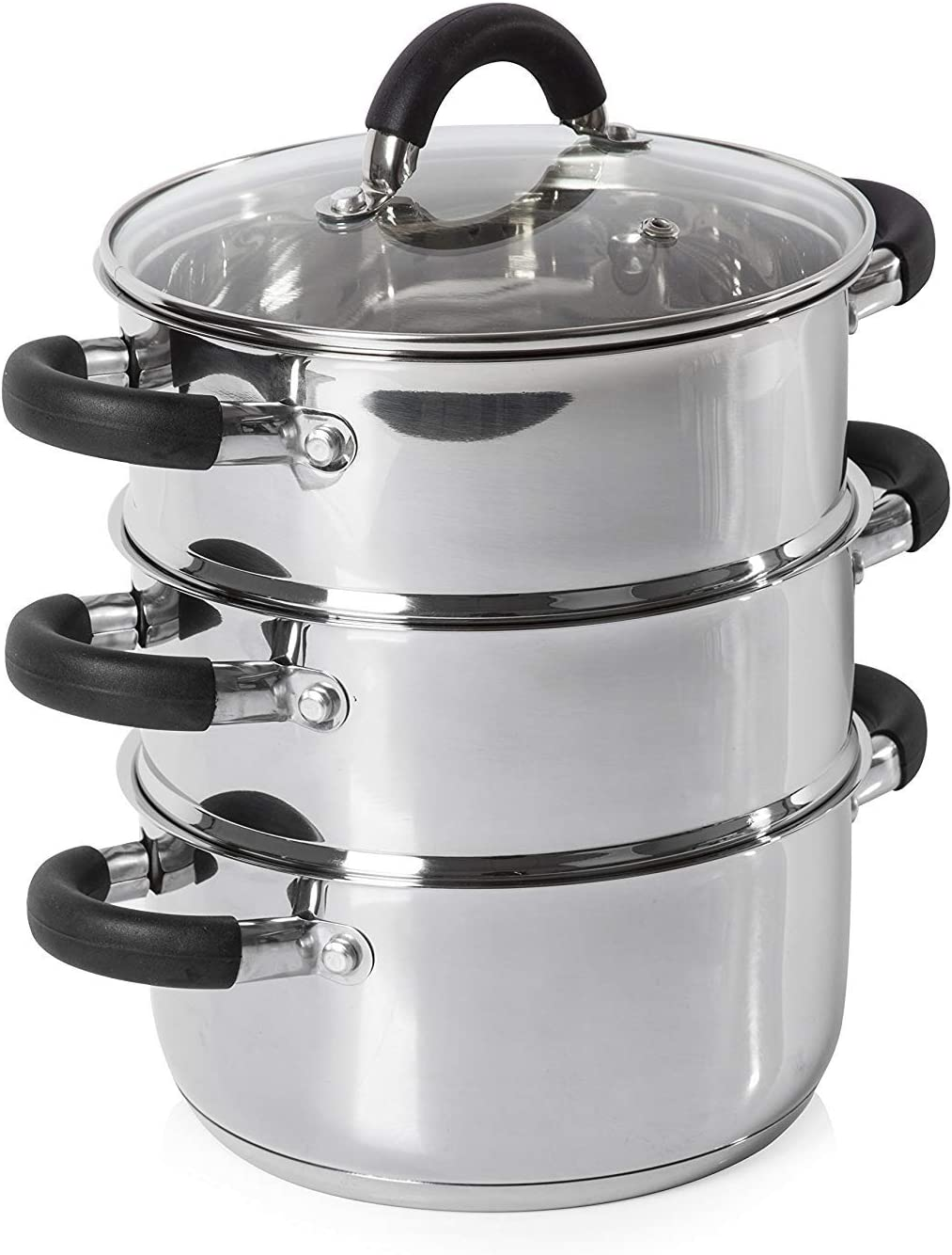 OIEILI Tower Essentials 3-Tier Steamer Lid 2021 All stores are sold model with and Glass Polish