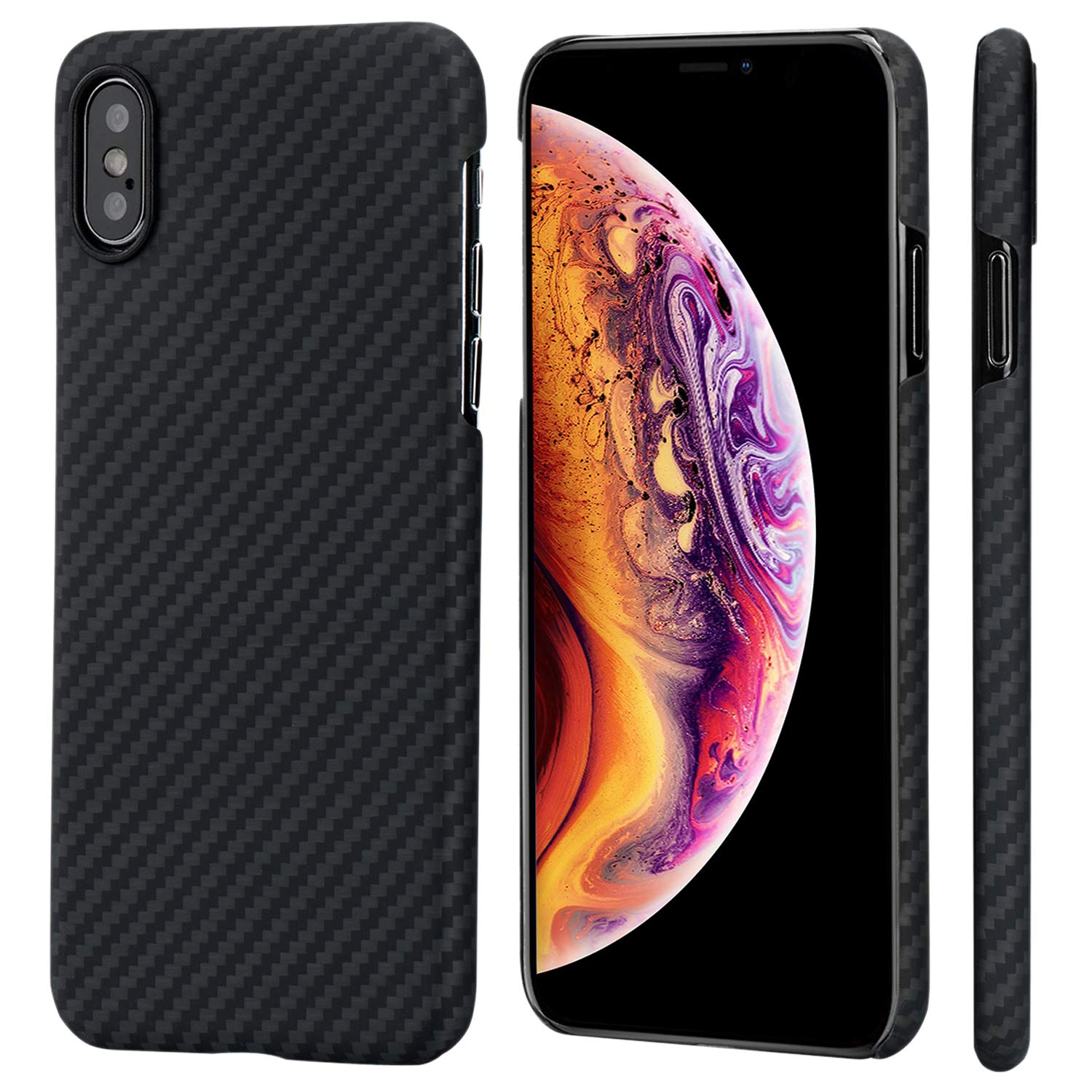 PITAKA Slim Case Compatible with iPhone Xs 5.8'', MagCase Aramid Fiber [Real Body Armor Material] Phone Case,Minimalist Strongest Durable Snugly Fit Snap-on Case - Black/Grey(Twill)