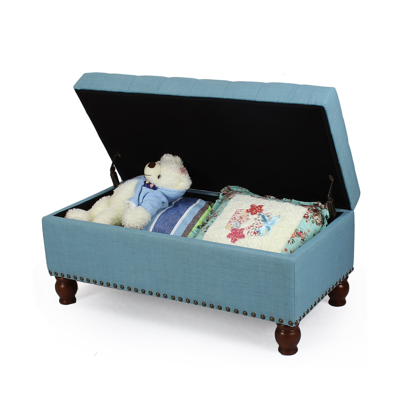 Adeco Faux Linen Fabric Retangular Tufted Lift Top Storage Ottoman Bench, Footstool with Solid Wood Legs, Nailhead Trim, Princess Blue
