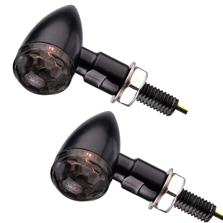 Motorrad LED Mini Blinker Bullet Style schwarz smoke get/önt e-gepr/üft 1 Paar
