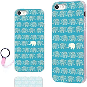 iPhone SE Case,iPhone 5S Case,iPhone 5 Case,ChiChiC Full Protective Case Slim Flexible Soft TPU Gel Rubber Cases Cover for Apple iPhone 5/5S/ SE 2016,Cute Gold Elephant on Teal Background
