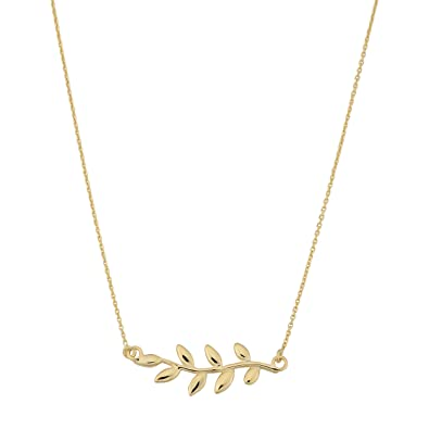 1400ee6d7 Amazon.com: Kooljewelry 10k Yellow Gold Olive Branch Necklace (18 inch):  Jewelry