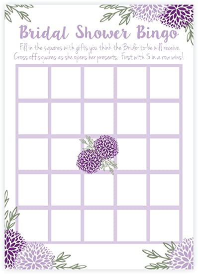 Amazon.com: Purple Floral Bridal Shower Bingo Game Cards (50 Count ...