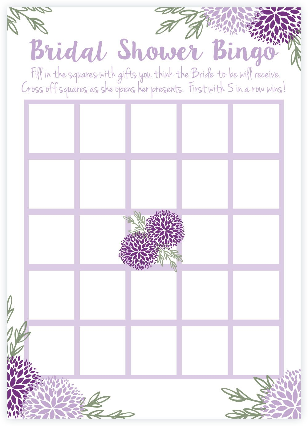 Purple Floral Bridal Shower Bingo Game Cards (50 Count) by m&h invites