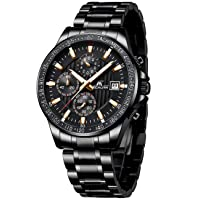 Mens Watches Stainless Steel Waterproof Watch Chronograph Wrist Watches for Men Analog Quartz Date Calendar Business Casual Fashion Gents Watches