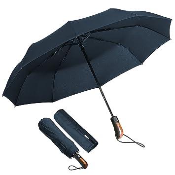Paraguas Plegable Hombre Automático Antiviento, ECHOICE Paraguas Azul Marino Compacto Resistente al Viento, Paraguas