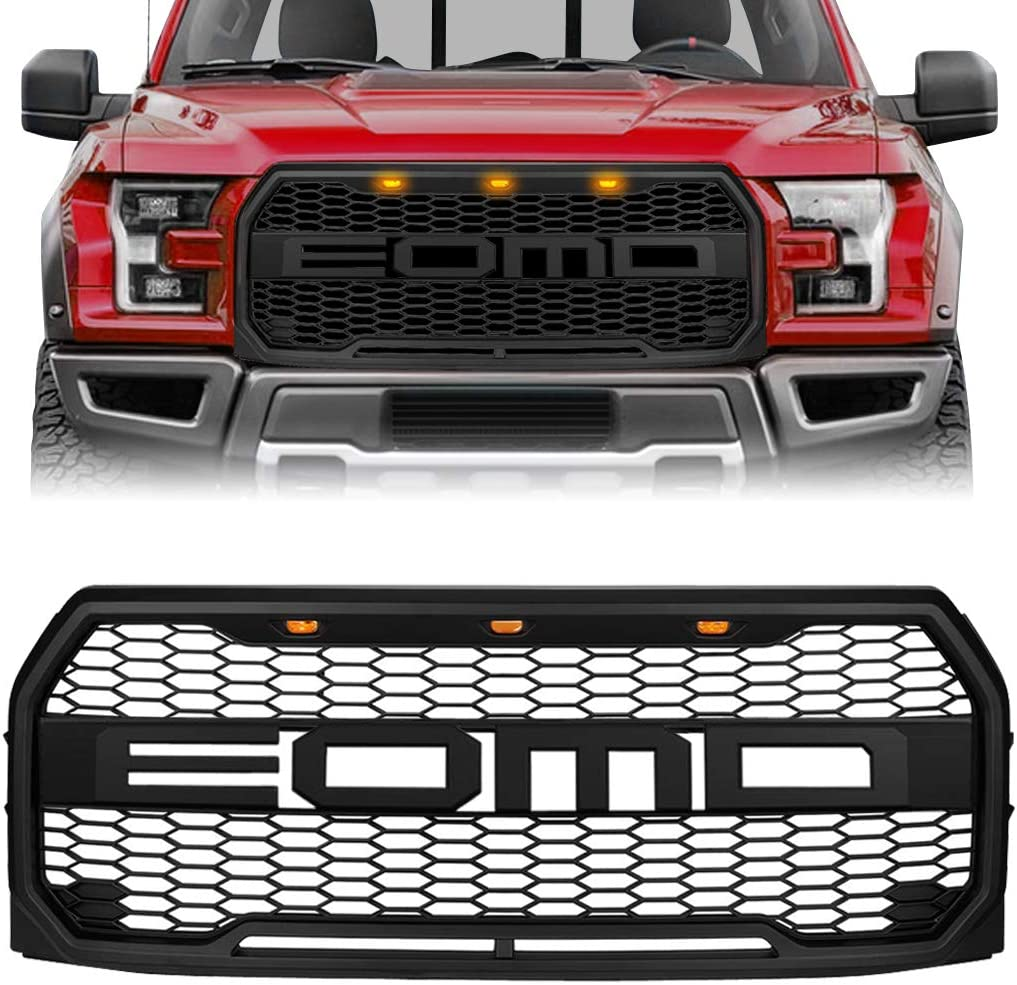 Matte Black Compatible with 2015 2016 2017 Ford F150 Raptor Style Front Grill Bumper Hood Mesh Grille W//LED