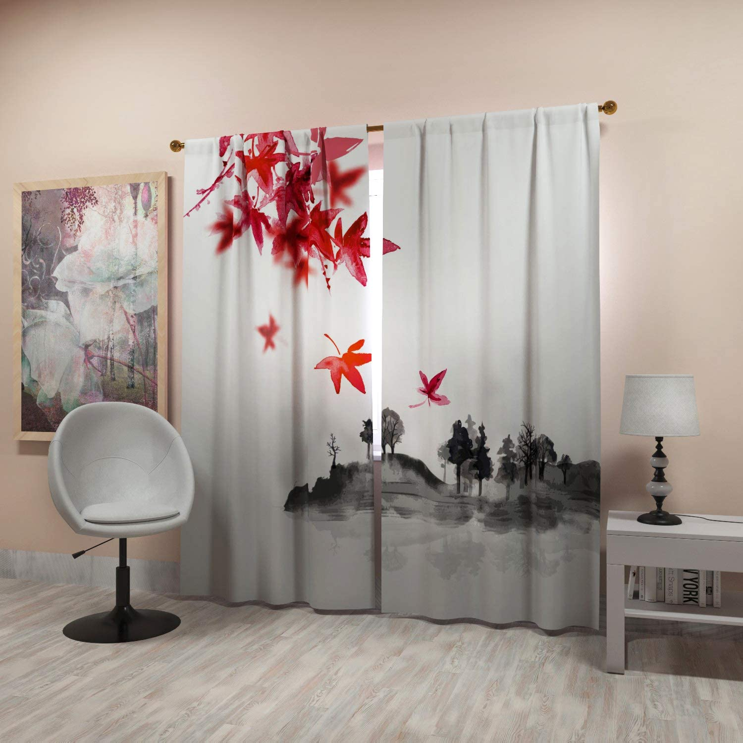 Factory4me Asian Style Curtains With Autumn Leaves Beautiful Modern Room Darkening 84 Inches Long For Living Room Bedroom Kitchen Dining Room Stylish White Black Red Gray Rod Pocket Drapes Home