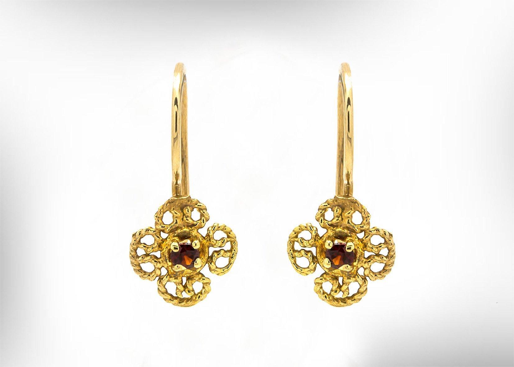 Handmade Women Earrings,9k or 14k Gold with Garnet Gemstones,.January Birthstones, Vintage Lace Earrings for Her. Customized Gemstones and Material.