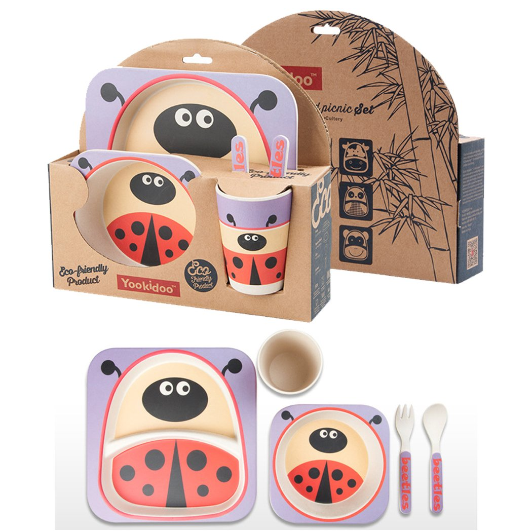 BAMBOO KIDS Meal Set | Plate Set | Toddler Dinner Set | 100% Eco-Friendly Bamboo Dishes | Food-Safe Feeding Set for Toddlers and Little Kids | Boys and Girls (Bees) My-E-Depot
