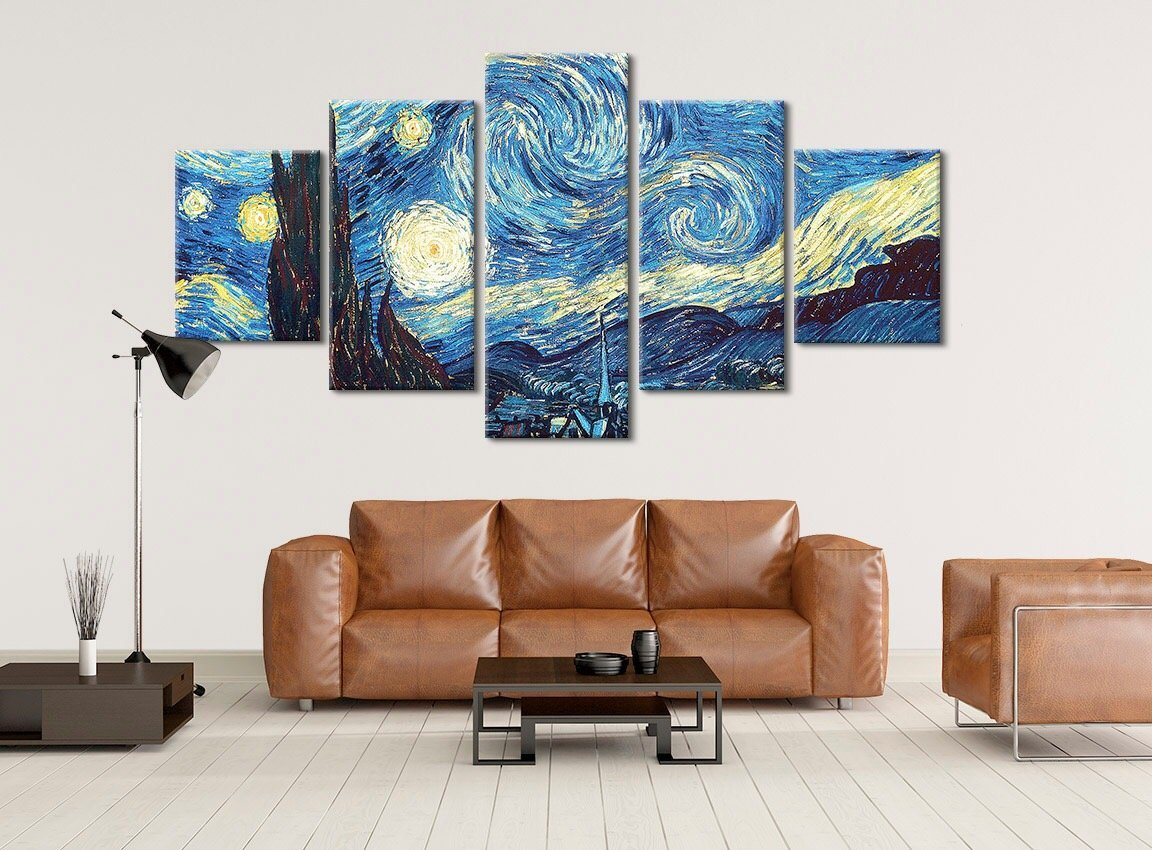 Van Gogh Oil Paintings Starry Night - Stretched and Framed Artwork - Hand Made In The US