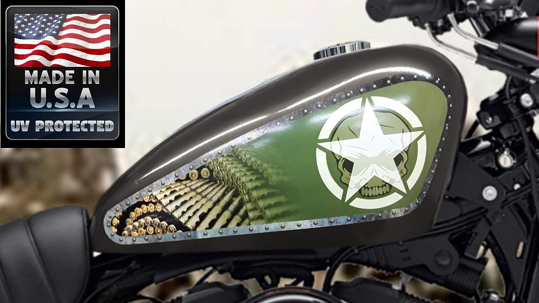 East Coast Vinyl Werkz 3 pc Army Shield/Panel Set Fuel Tank Decals for Harley Davidson Sportster