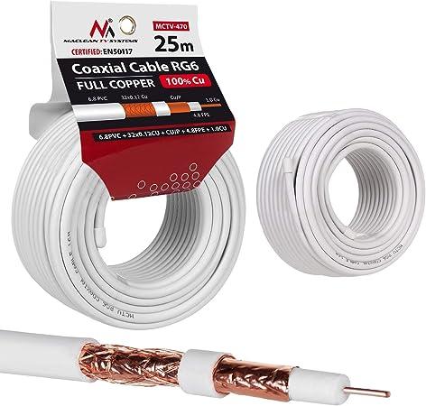 Maclean MCTV Cable de Antena coaxial RG6 Cobre Puro 100% CU ...