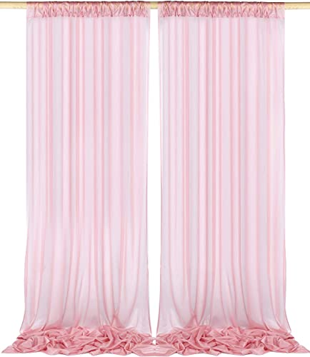 SHERWAY 2 Panels 5 feet x 10 feet Wrinkle-Free Dusty Rose Sheer Gauze Backdrop Curtains for Wedding Ceremony Party Stage Arch Backdrop Decorations