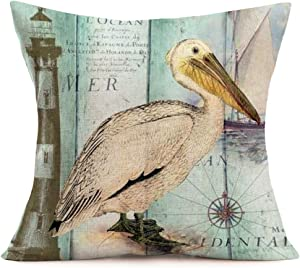 ShareJ Nautical Theme Pelican Animal Throw Pillow Covers Retro Compass Sailboat Lighthouse Outdoor Decor Pillow Covers Wooden Background Cotton Linen Cushion Cover 18 x 18 Inch (A#Pelican)