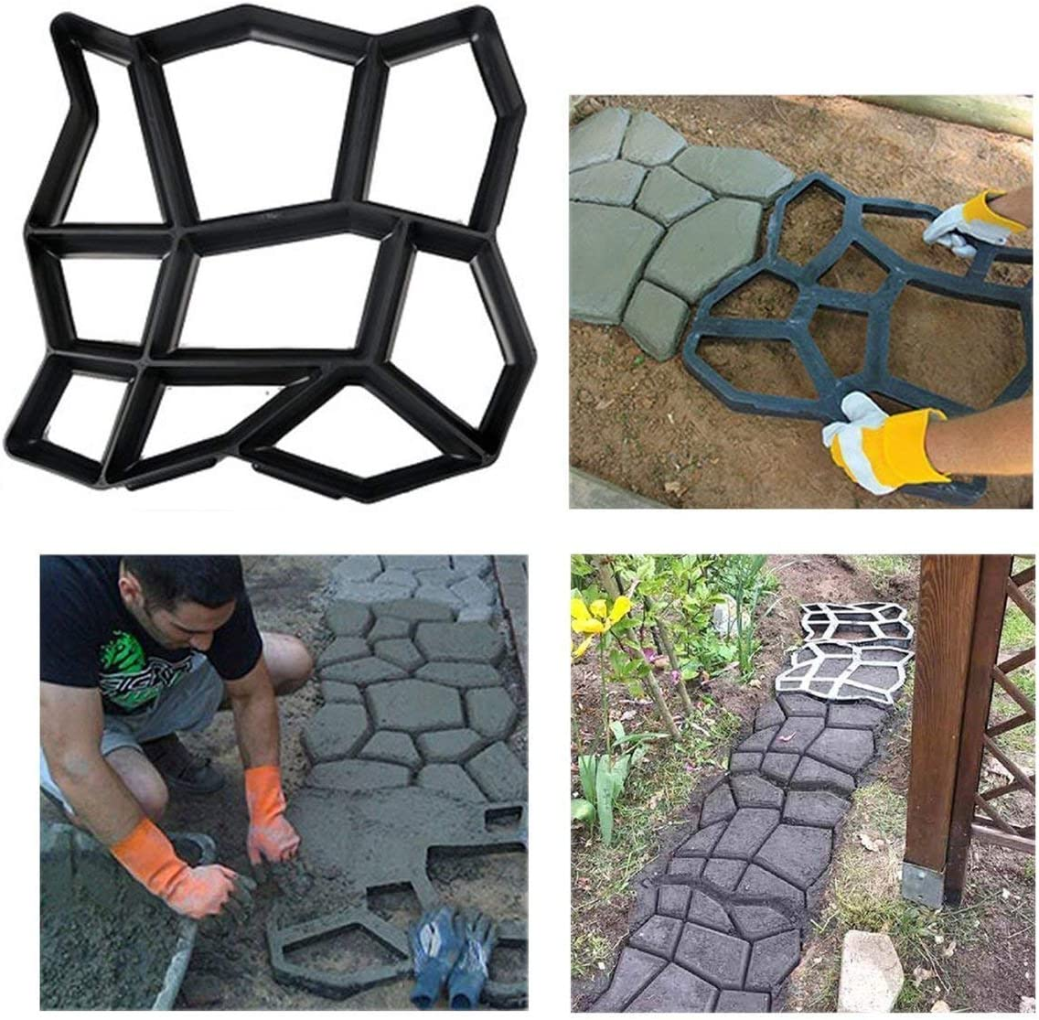 Stageya Path Make Paving Model Reusable Patio Concrete Paving Garden Path Molds,16.5X 16.9