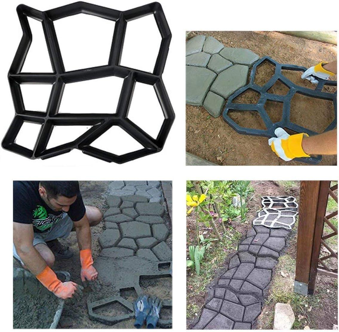 Stageya Path Make Paving Model Reusable Patio Concrete Paving Garden Path Molds,16.5X 16.9