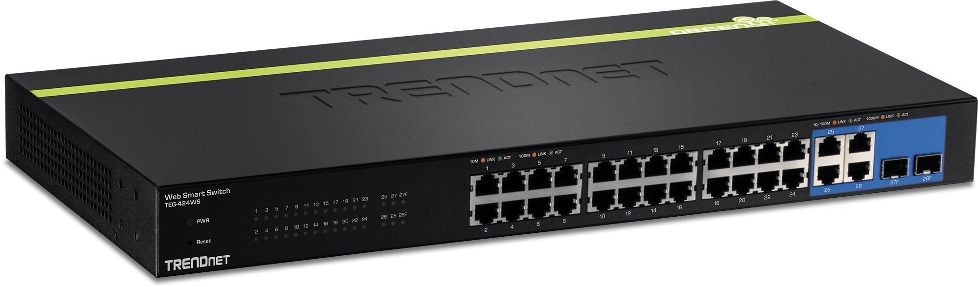 TRENDnet 24-Port 10/100 Mbps Web Smart Switch, 4 x Gigabit Uplink Ports, 2 x Shared SFP Slots, Fanless, Rack Mountable, Lifetime Protection, TEG-424WS by TRENDnet (Image #1)