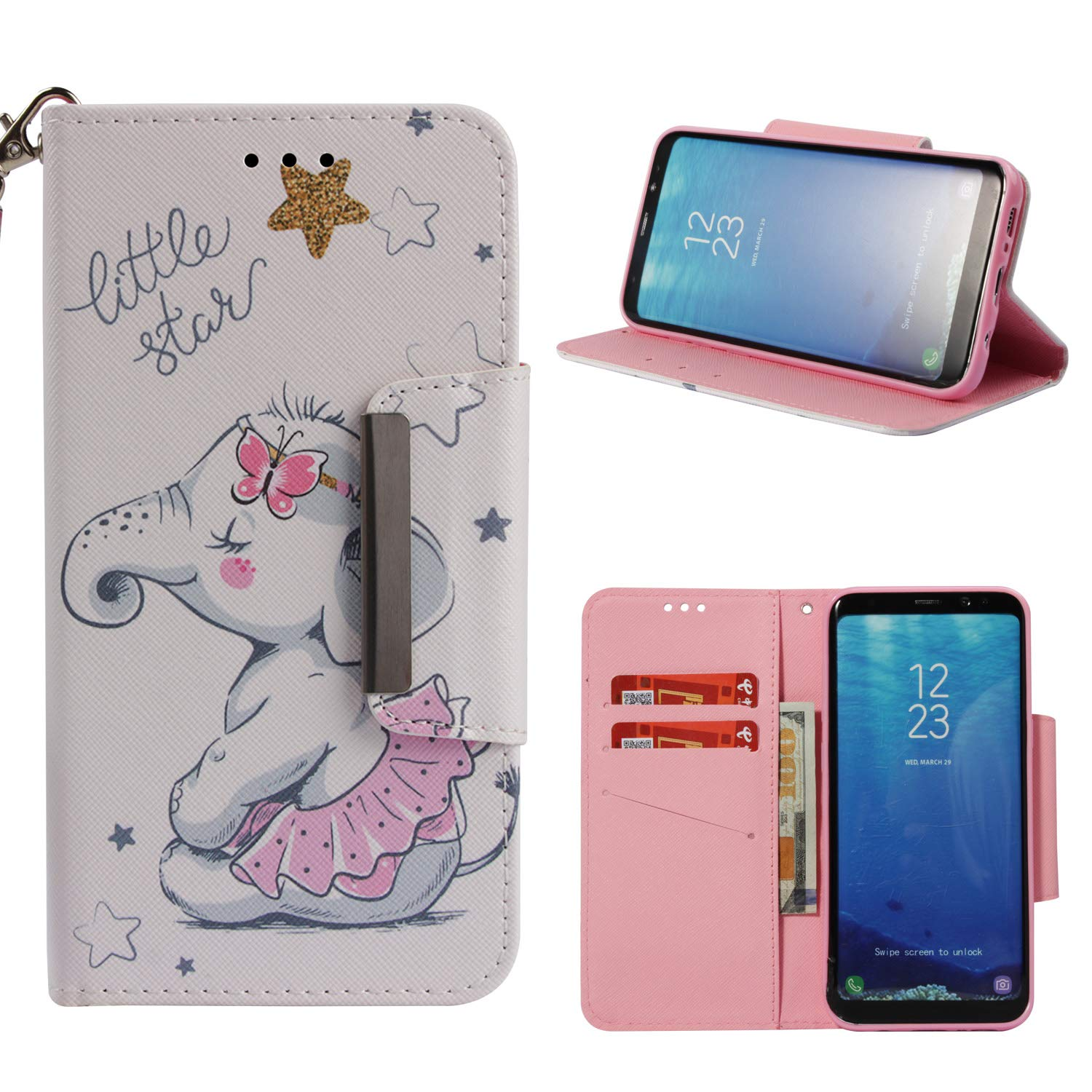 Leather Wallet Case for Samsung Galaxy S8,Shinyzone Cute Cartoon Animal Elephant Painted Pattern Flip Stand Case,Wristlet & Metal Magnetic Closure Protective Cover