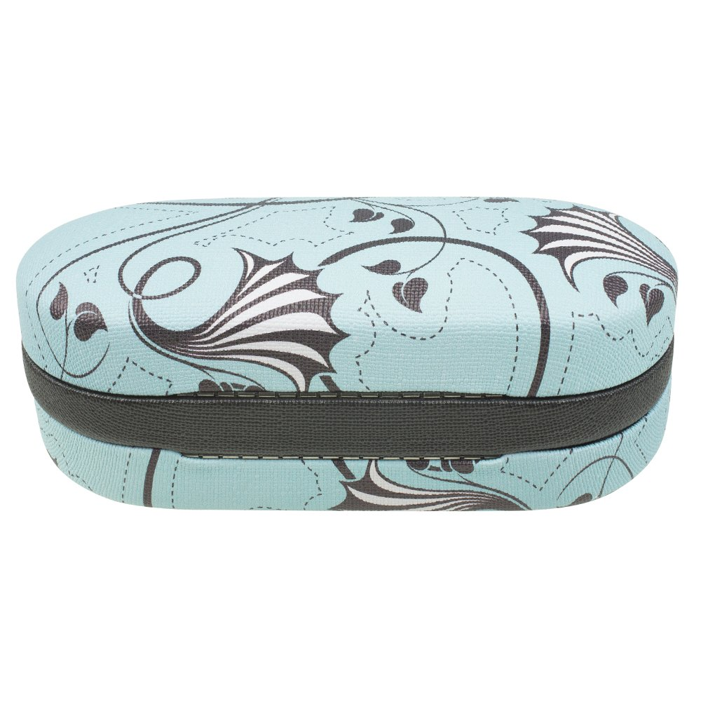 Dual Glasses Case for Two Frames - Double Layer Clamshell Hard Protective Case with Soft Felt Interior with Built-In Mirror – Blue and Gray Floral Swirl Canvas Print - By OptiPlix by OptiPlix (Image #2)