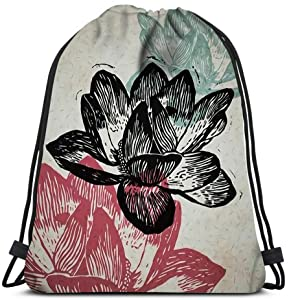 Drawstring Backpack Engraved Nenuphars In Different Colors On Old Paper Laundry Bag Gym Yoga Bag