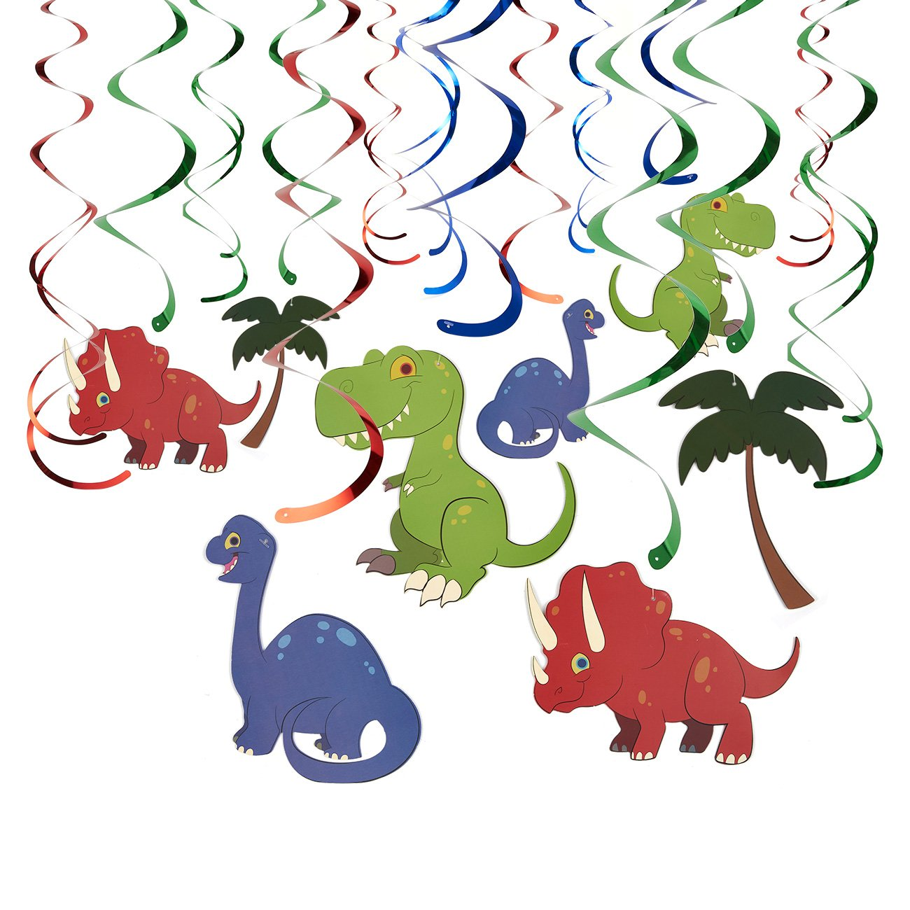 30-Count Swirl Decorations - Dinosaur Birthday Party Decorations, Party Streamers, Hanging Dino Decor Whirls for Kids, 4 Assorted Designs - Hanging Length: 34.25 to 36.25 inches