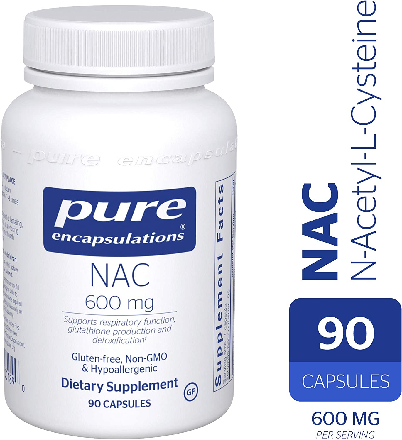 Pure Encapsulations – NAC N-Acetyl-L-Cysteine 600 mg – Amino Acids to Support Antioxidant Defense and Healthy Lung Tissue – 90 Capsules