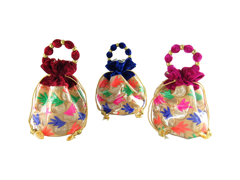 Amazon.com: goldgiftides étnico Potli bolsas para mujer con ...