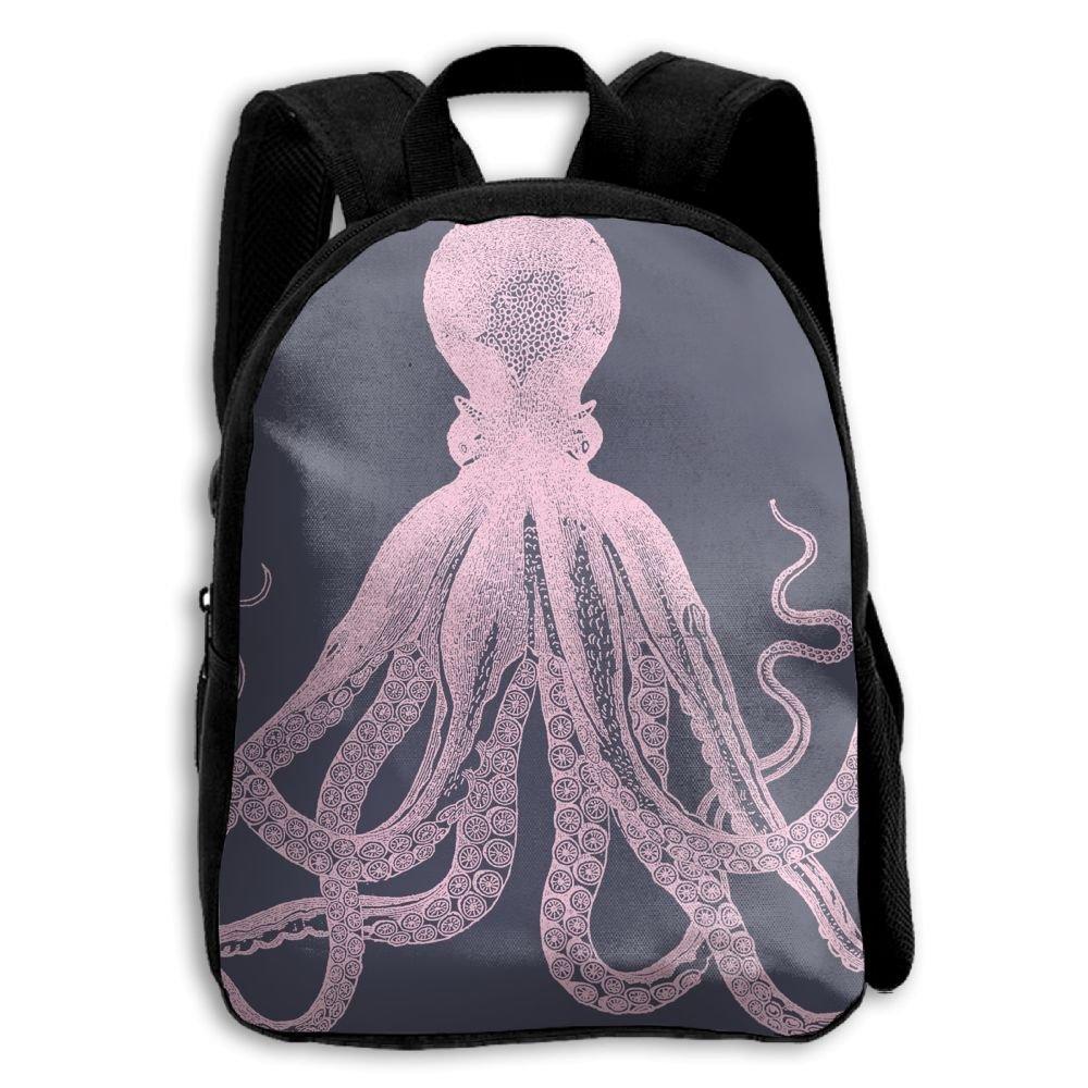 fidaljfピンクOcean Octopus子供の3dプリントファスナー付き旅行バッグ学校バックパック   B07DVJFB1N