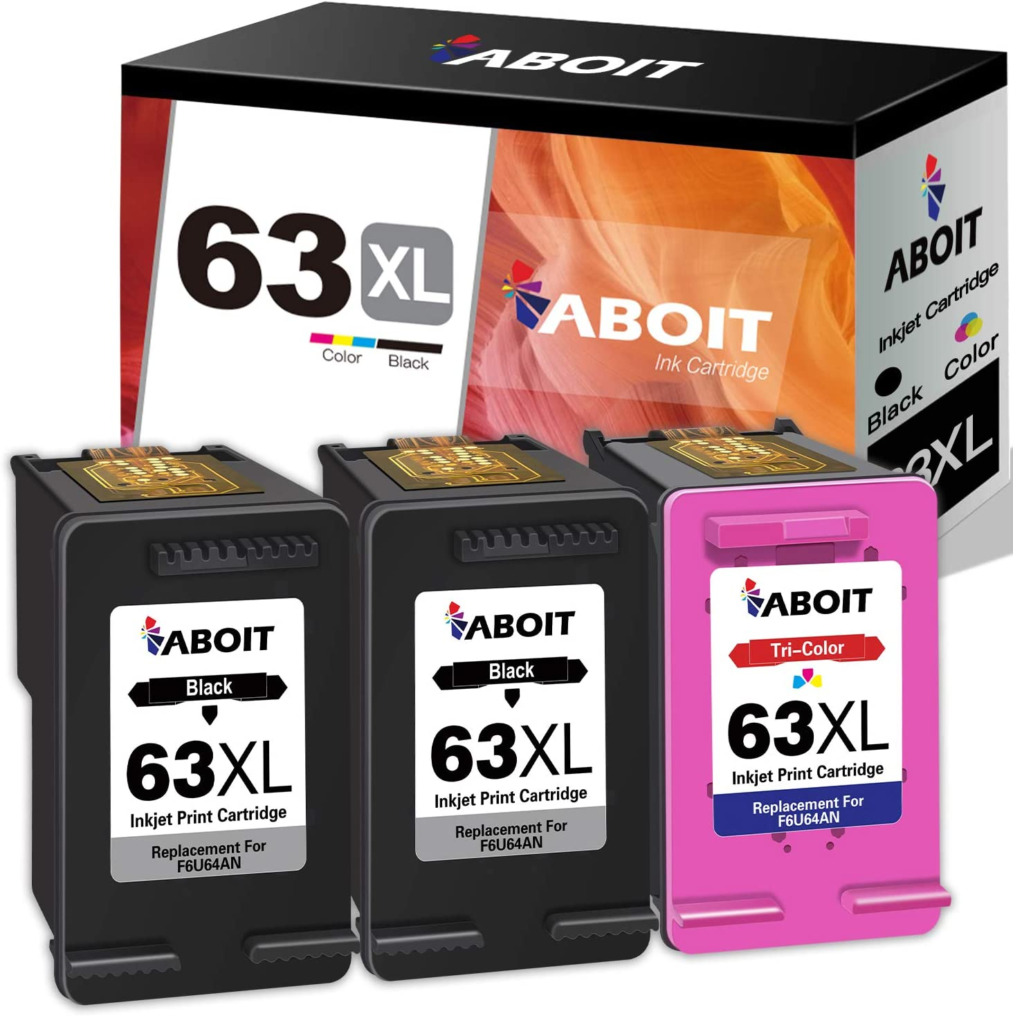 ABOIT Remaunfactured Ink Cartridge Replacement for HP 63XL 63 XL Ink to use with HP OfficeJet 3830 Envy 4520 4512 Officejet 4650 5255 Deskjet 1112 3634 3632 Printer (2 Black, 1 Tri-Color,3 Pack)