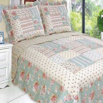 Amazon.com: Quilt Coverlet Set King/Cal King Oversized Country ... : california king coverlets quilts - Adamdwight.com