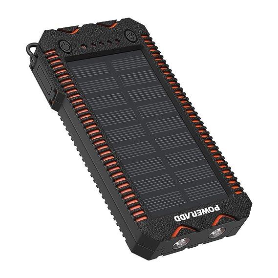 POWERADD Cargador Solar Portátil con 12000mAh, Batería Externa 2 Puertos de USB Panel Solar con Alta Eficiencia de Conversión Impermeable Inteligente, ...