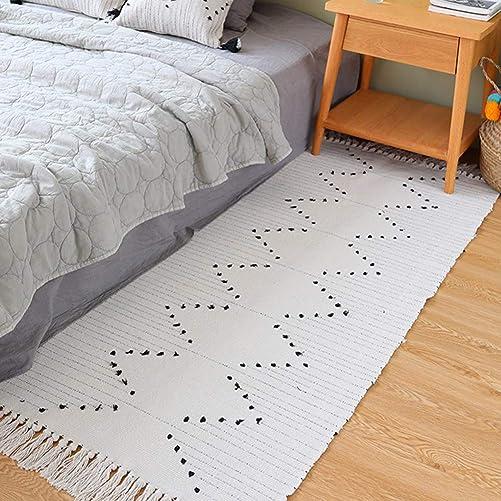 Hand Woven Rug Runner, Boho Rug for Bedroom, Cotton Small Tassels Area Rug for Kitchen Laundry Bathroom Doorway, Beige 2 x4.3