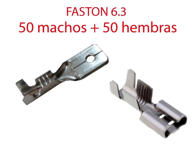 Pack 100X Terminal Faston 6.3 mm 50 Hembras y 50 Machos