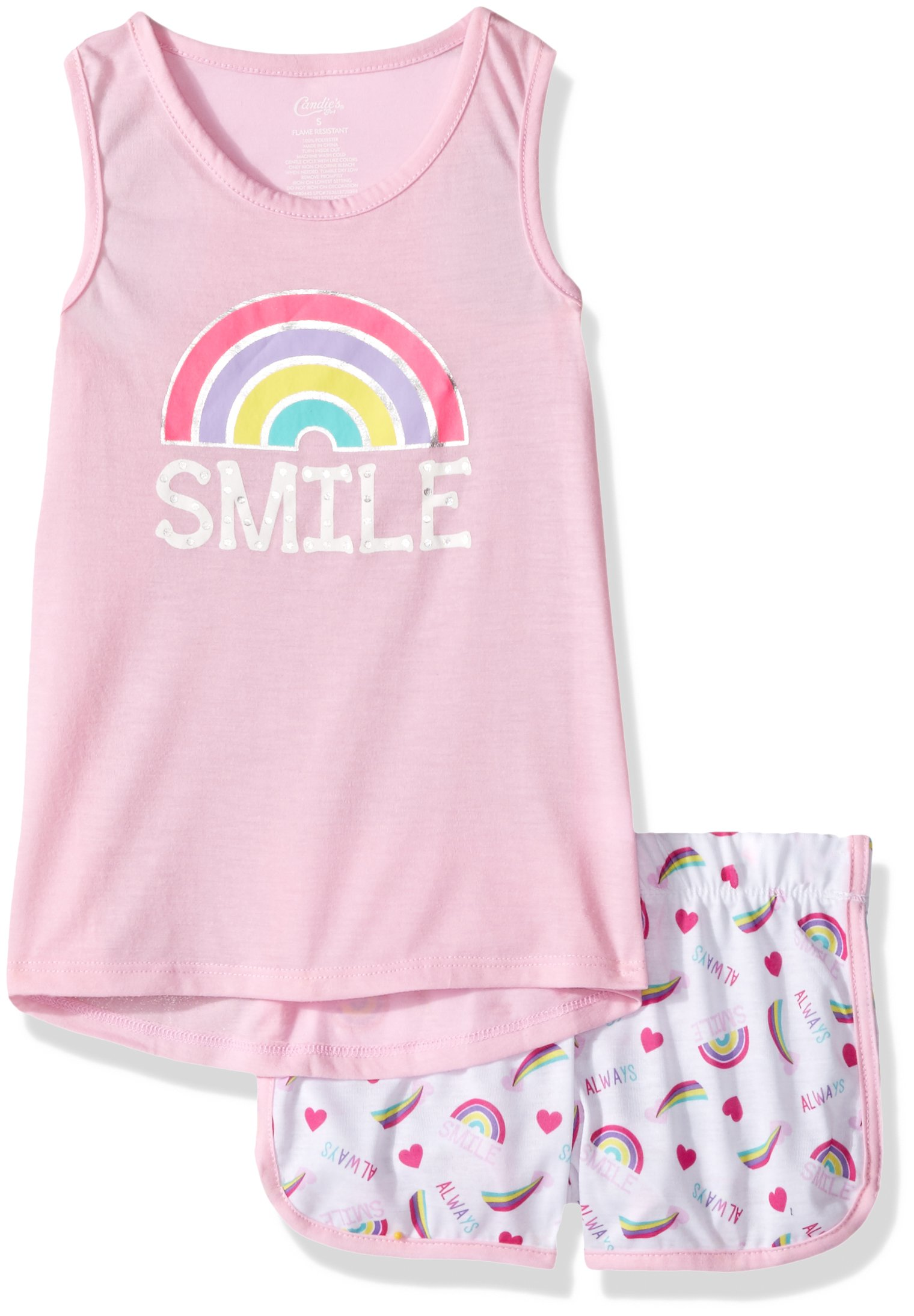 Candie's Big Girls' Tank and Short Set, Smile Pink/White, S
